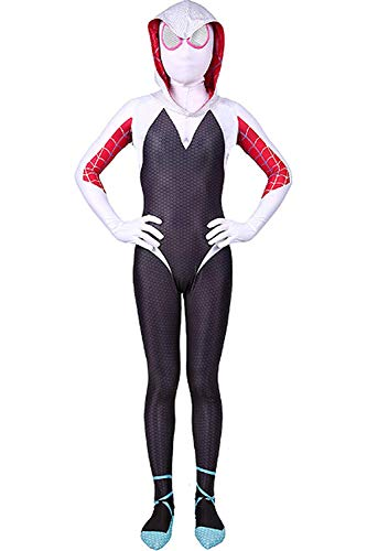 Kids Toddler Spider Verse Miles Morales Gwen Jumpsuit Bodysuit Black Spider Tights Zentai Costume (Gwen, Child M/110-120 cm)