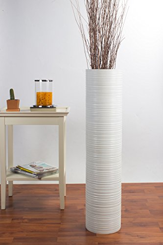 Tall Floor Vase 36 inches, Wood, White (Vases Tall 36 Inch Floor)