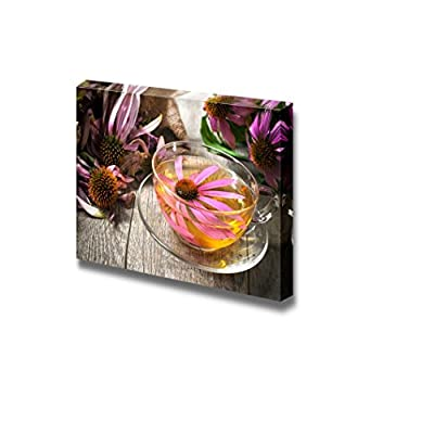 Canvas Prints Wall Art - Still Life Cup of Echinacea Tea on Wooden Table | Modern Wall Decor/Home Art Stretched Gallery Canvas Wraps Giclee Print & Ready to Hang - 16