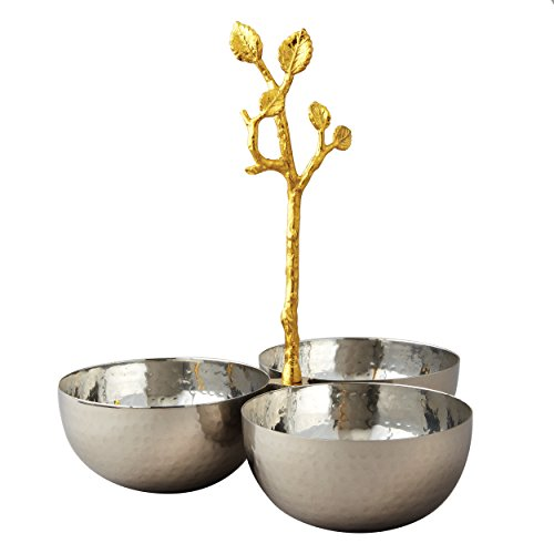 Elegance Golden Vine Hammered Triple Bowl, Silver/Gold