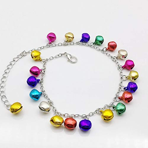 Funnmart 6PCS Fashion Mix Color/Multicolor Jingle Bells Dangle Charms Metal Anklet Bracelet, Ankle Bracelet
