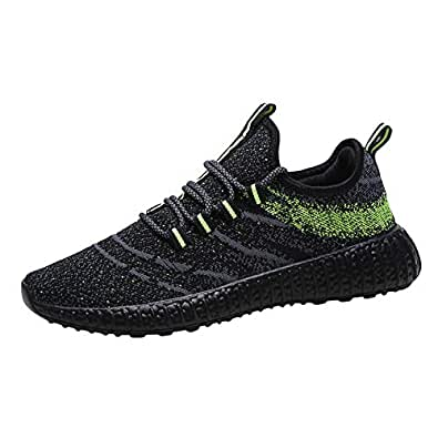 AUCDK Men Flat Athletic Shoes Low Top Lightweight Mesh Upper Trainers Breathable Daily Wear and Running Sneakers 7.5US Black and Green