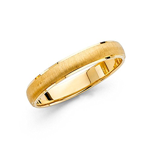 Solid 14k Yellow Gold Wedding Band Ring Classic Dome Style Brushed Sand Finish Fancy 4 mm, Size 8
