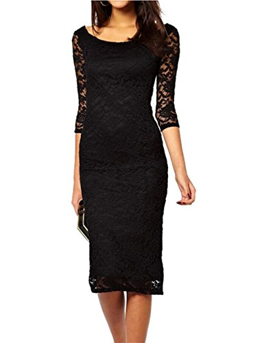Buy black 3/4 length sleeve bodycon dress - 5