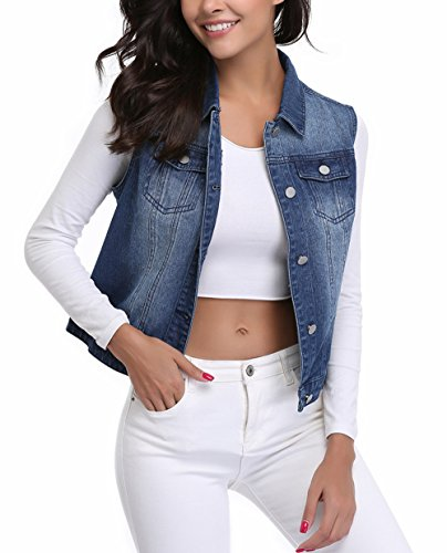 MISS MOLY Womens Blue Sleeveless Lapeled Denim Jackets Vests Button Up Dowm Denim Vest w 2 Chest Pockets (Blue Vest,L)