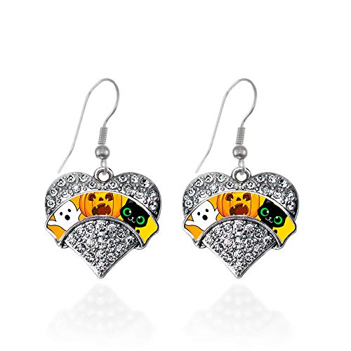Inspired Silver - Cute Halloween Trio Charm Earrings for Women - Silver Pave Heart Charm French Hook Drop Earrings with Cubic Zirconia Jewelry -