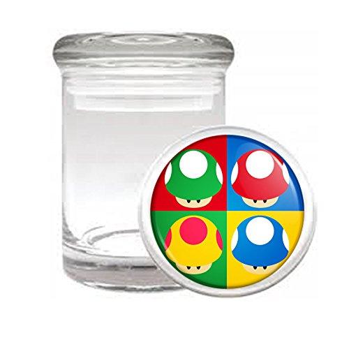 "Medical Glass Stash Jar Pop Art Pop Icon Mushrooms S1 Air Tight Lid 3"" x 2"" Small Storage Herbs & Spices"