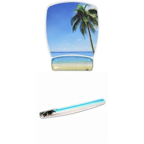 18 3M Gel Wrist Rest for Keyboards Fun Beach Design Soothing Gel Comfort with Durable WR308BH Easy to Clean Cover