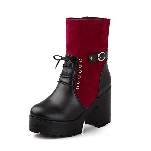 A&N Girls Chunky Heels Platform Two-Toned Imitated Leather Boots Red