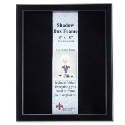 Lawrence Frames 790080 Black Wood Shadow Box Picture Frame, 8 by 10-Inch - Satin Inner Lining