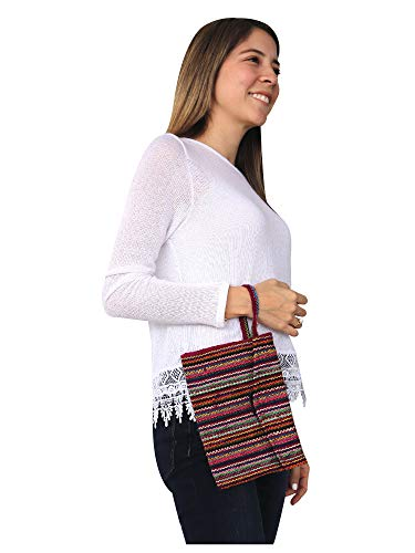 Red Handmade Peruvian Clutch Textile Colorful Handbag Wool Alpaca Raymis Oq8w5U
