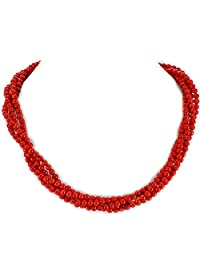 """004 Ny6design Four Strands Red Coral Long Necklace w Silver Plated Toggle 18"""" N13010134c"""