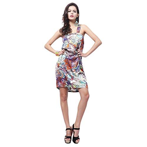Loverbay Women's Silk Milk Fiber Floral Print One Shoulder Mini Straight Dress Purple Size F