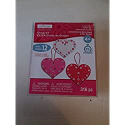 childrens Valentines craft kit hearts & pony beads (Maks 12 units)