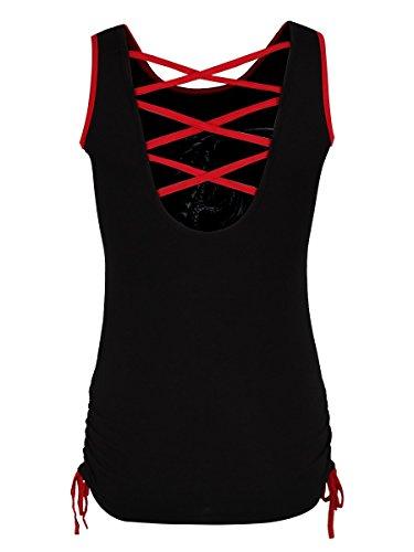 Damen Top Spiral Dragon Rose mit rotem Band auf der Rückseite schwarz