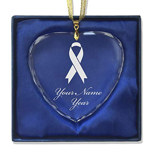 SkunkWerkz Christmas Ornament, Cancer Awareness Ribbon, Personalized Engraving Included (Heart Shape)