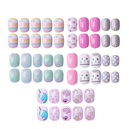 120 pcs 5 pack Children Nails Press on Pre-glue Full Cover Glitter Gradient Color Rainbow Short False Nail Kits Great Christmas Gift for Little Girls (Pink hamster)
