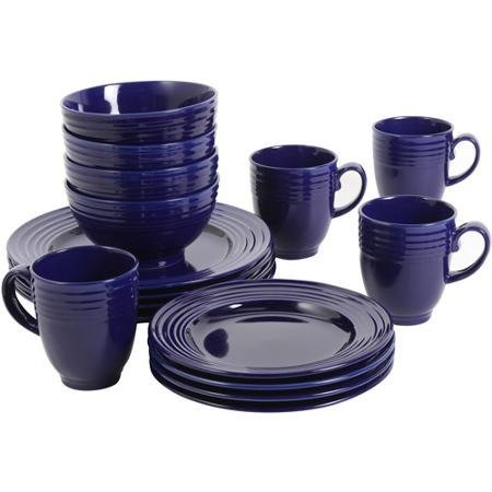 Elegant, Microwave Safe, Dishwasher Safe, 16-Piece Dinnerware Set, Cobalt (1)
