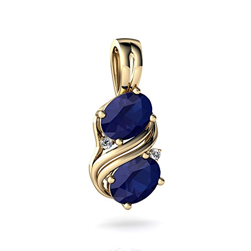 14kt Yellow Gold Lab Sapphire and Diamond 8x6mm Oval Two Stone Swirl ()