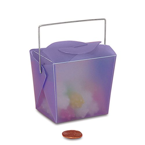 Purple Frosted Plastic Chinese Take Out Boxes 2 3/4