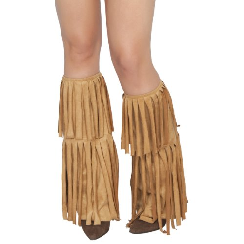 Roma Costume Fringed Leg Warmer Costume, Tan, One