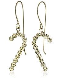 14k Yellow Gold Diamond-Cut Cane Dangle Earrings