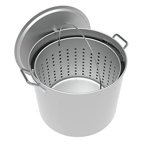 LoCo Cookers LCPT80 80qt Aluminum Boiling Pot, 80 Quart, Silver