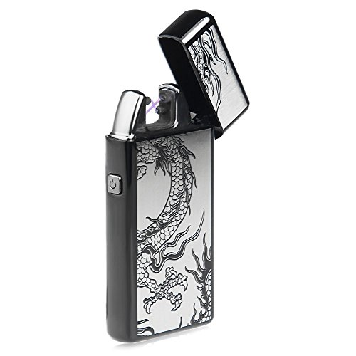 Kivors USB Rechargeable Windproof Flameless Electronic Double Pulse Arc Cigarette Lighter Belief Chinese Dragon Lighter by Kivors (Image #5)