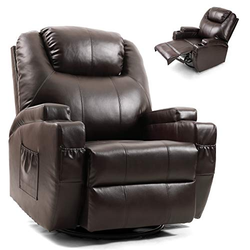 Artist Hand Massage Recliner Chair with Cup Holder Electric Heated Living Room Chair Bedroom Chair Reading Chair (Brown)
