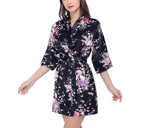 Silk Satin Bride Robe Bathrobe Short Kimono Robe Night Robe Bath Robe Dressing Gown,As The Photo show2,XXXL -