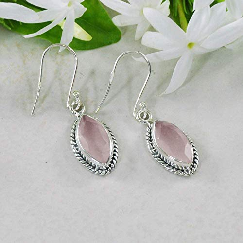 Sivalya 2.00 Ct Marquise Natural Rose Quartz Earrings in 925 Sterling Silver, Genuine Gemstone Solid Silver French Hook Dangle Earrings 1.25