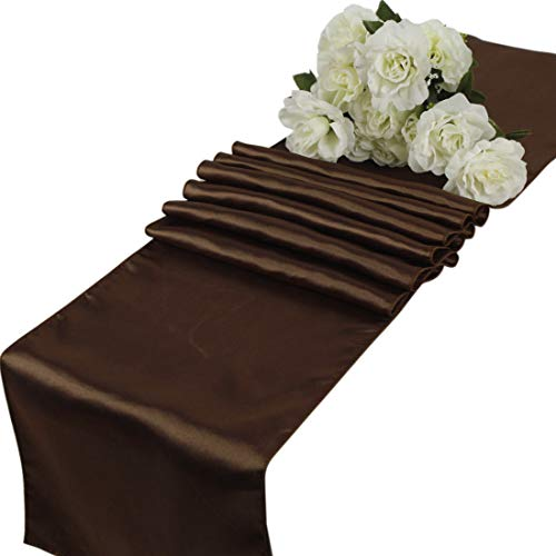 VDS - 10 PCS 12 x 108 inch Satin Table Runner for Wedding Banquet Décor Runners Charmeuse Silk Table Runner - Chocolate Brown