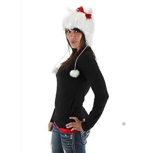 White Kitty Hoodie Hat (Cat Hoodie Kitty Costume Hat Adult Teen Girls Halloween Fancy Dress)