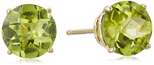 Peridot Gemstone Round Shape - 10k Yellow Gold Round Checkerboard Cut Peridot Stud Earrings (6mm)
