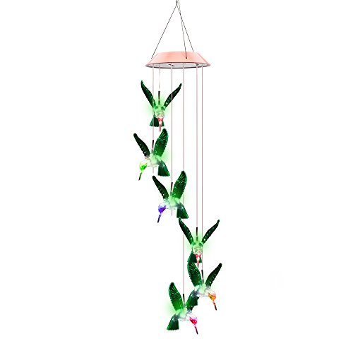Color-Changing LED Solar Mobile Wind Chime, Solar Powered LED Hanging Lamp WindChime Light Six Hummingbird Wind Chimes for Outdoor Indoor Home yard Garden Decoration by Vingtank