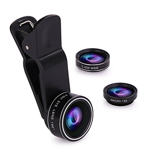 GODEFA Phone Camera Lens, 3 in 1 Clip On Lens Kits 198 Degree Fisheye Lens/0.63x Wide Angle/15x Macro lens (Attached Together) for iPhone 8/7/6/6s/5/4
