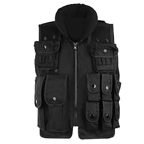 Pellor Outdoor Kids/Children Nylon Tactical Vest Security Guard Waistcoat CS Field Combat Training Protective Vest (Black, Length: 50cm)