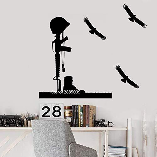 SHAN'S Pegatinas De Pared Soldado Casco Rifle Pegatinas De Pared DIY Autoadhesivo Tatuajes De Pared Mural Art Game Home...