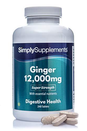 Jengibre 12000mg | Extra Fuerte - ¡Bote para 8 meses! - Apto para veganos - 240 Comprimidos - SimplySupplements