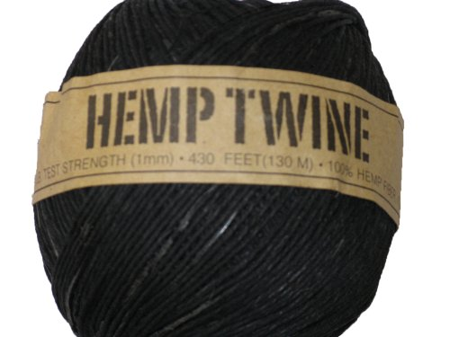 Hemp Twine Black 20# 1mm 430Ft 130m (Hemp 1 Mm)
