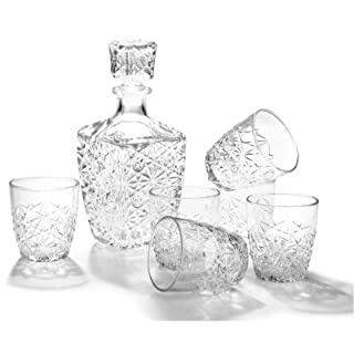 Bormioli Rocco Dedalo Whiskey Gift Set - Sophisticated 26.25oz Diamond Decanter & 6 Etched 8.75oz Whiskey Glasses With Sparkling Star-Cut Detailing - For Whiskey, Bourbon, Scotch & Liquor (B000MD6A2M) | Amazon price tracker / tracking, Amazon price history charts, Amazon price watches, Amazon price drop alerts