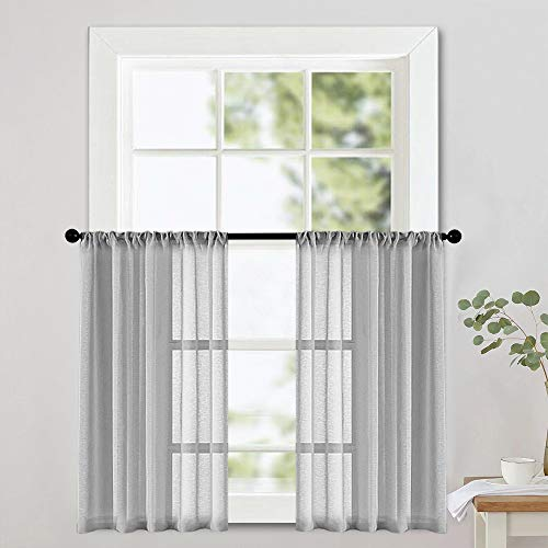MRTREES Sheer Tier Curtains Grey 24 inch Length Kitchen Tiers Voile Sheers Short Bathroom Window Curtain Panels Cafe Curtains Light Filtering Rod Pocket Gray 2 Panels (Curtains Cafe Gray)