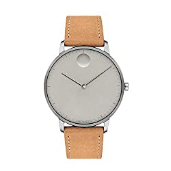 Movado FACE Grey Stainless Steel Case, Grey Dial, Tan Leather Strap, Men, 3640003