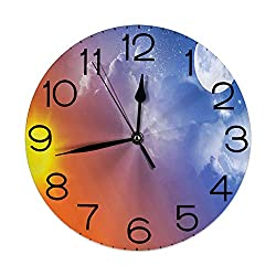 GULTMEE Silent Wall Clock Non Ticking 10 inch Quartz Round Decorative, Full Moon Sun Clouds Cycle of The Galaxy Sacred Movement Macrocosm Print