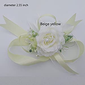 Arlai Wrist Corsage Wristband Roses Wrist Corsage for Prom, Party, Wedding Beige 3