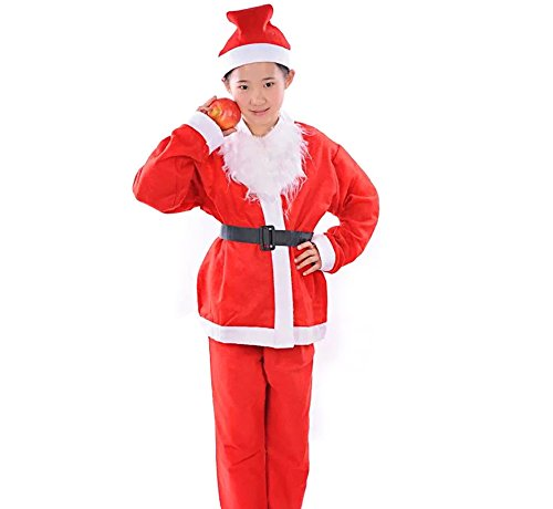 Non Clothing Costumes (QBSM Christmas Child Santa Claus Costumes Novelties Santa Clothes Suit for Kids (L))