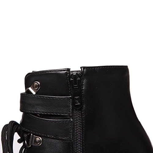 VogueZone009 Women's Round Closed Toe Low-top High-Heels Solid PU Boots, Black, 40 by VogueZone009 (Image #7)