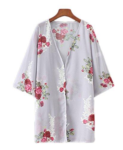 カーディガン 薄手 花柄 シフォン ゆったり シースルー 中袖 爽やか バット型シャツ チュニック ワンピース ボレロ 着物 レディース