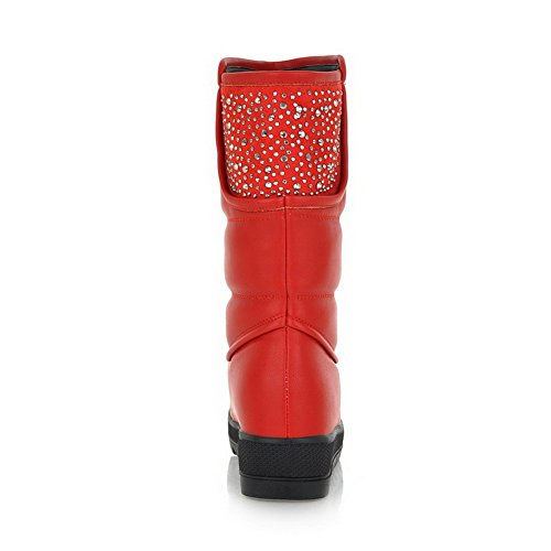 Glitter US Toe Heels 7 Material AmoonyFashion Soft Solid Closed Red Womens PU with B Boots M Low Rhinestones and Round 5 xwtwRA6qF