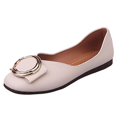 Transer Ladies Shallow Leisure Flats Shoes, Women Slip on Comfort Casual Work Loafers Lazy Shoes Beige